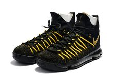 newest collection 22cbd 2d8ab Original Playoffs KD 9 IX Elite Black Sonic Yellow Gold Mens Basketball  Shoes 2018 On Sale