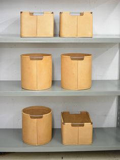leather baskets and bins