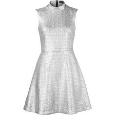 Markus Lupfer Metallic Foil Savannah Dress ($245) ❤ liked on Polyvore featuring dresses, silver, sleeveless a line dress, flared dresses, white dresses, flare dress and white a line dress
