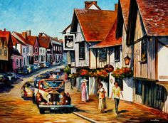 0858 Wedding Day In Lavenham-Suffolk-England - Palette Knife Oil Painting On Canvas By Leonid Afremov Print by Leonid Afremov