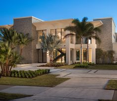 Front Entry and Modern Motor Court of this Orlando Parade of Homes Winner.  Gravel joints in the concrete drive and unique palms add to the clean lines of this house.  Residential Landscape | Mills Design Group