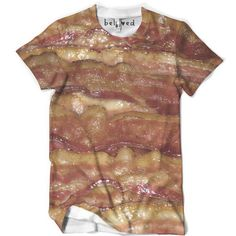 "belovedwear® presents the #bacon Tee. This ""all over"" print T-Shirt is made using a special sublimation technique to provide a vivid graphic image throughout the shirt. • 100% Polyester • All Over Pho"