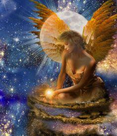 Art Fantasy — Angel Beauty — Full Moon — Stars — Magic ❤️ - made by BabySavira Mababe with Bazaart #collage