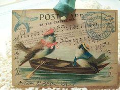 Vintage Summer Postcards   ... the Sea Summer Birdie Sailors Vintage Seaside Postcards..Set of 5 ECS