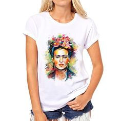 new women frida kahlo print t-shirt women Personalized t shirts female  bottoming Casual short 79059a100d47