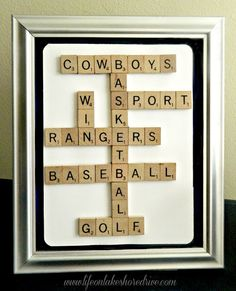 Scrabble Tile Sports Picture Home Decor, Gift for sports