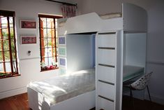 Classic Bunk Bed with Single top and bottom bed, storage draws, desk and ladder. Available in over 18 different colours