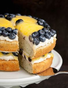 White Zucchini Cake with Whipped Vanilla Frosting, Lemon Curd and Blueberries
