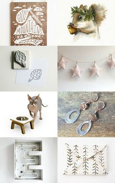 Squirrel! by Dan and Mer Dundin on Etsy--Pinned with TreasuryPin.com   featuring my star garland for baby room decor