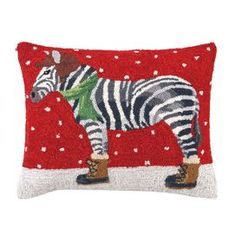 "Hand-hooked wool and cotton pillow depicting a winter-ready zebra.   Product: Pillow Construction Material: Burlap cover and fiber fill  Color: Multi   Features: Insert includedEmbroidered    Dimensions: 16"" x 20""     Cleaning and Care: Spot clean only"