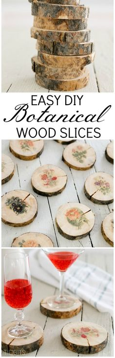 Learn how to make botanical wood slices with a simple image transfer technique. Then discover 6 beautiful ways to use them in your home. Wood Slice Crafts, Wood Crafts, Easy Woodworking Projects, Diy Wood Projects, Art Projects, Crafts To Make, Fun Crafts, Nature Crafts, Decoration Originale