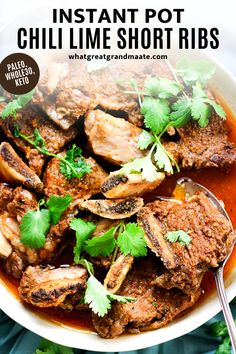 Easy Instant Pot dinner: fall-off-the-bone chili lime short ribs. Seasoned with Mexican spices and lime zest, these Whole30 and keto short ribs are amazing as taco meat, on salads, or alongside cilantro lime cauliflower rice. The leftovers reheat beautifully as well! #instantpot #instantpotdinner #shortribs #paleo #whole30 #keto #ketoinstantpotrecipes #whole30instantpotrecipes