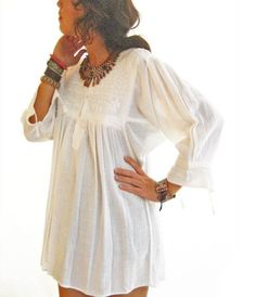 Vintage Mexican white top mini dress tunic white by AidaCoronado, $120.00