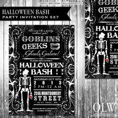 Halloween Party Invitation Spooky skeleton black by OddLotPaperie