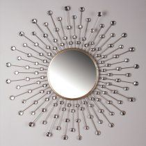 Easy to DIY - buy cheap round mirror from Target, hang on wall, then form pattern around mirror with flat-backed crystals/jewels from the craft stores meant to bejewel clothing! Connect dots with wire.