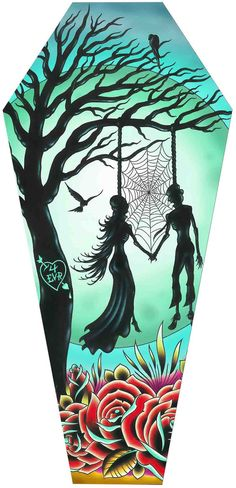 "Coffin Shaped Stretch Canvas Artwork - Features ""Love Til Death Artwork by Tyler Bredeweg - Measures: 3 Feet Tall - Stretched, Wired Back & Ready to Hang! - By: Lowbrow/Black Market Art Company - Plea"
