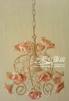 2012 venda Quente da Lâmpada moda flores de Cerâmica rosa rosa de cristal Único Pingente de luz dia30cm frete Grátis