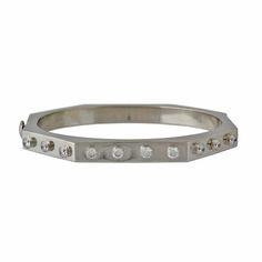 Italian 18K White Gold Diamond Bangle Bracelet, c. 1990s. $2800