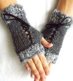 Grey Wrist Warmers tones Knit Fingerless Corset by LaimaShop