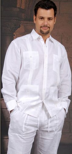 French Cuff  Guayabera. Irish Linen. DACCORD. - Premiun Irish Linen. FRENCH CUFF Guayabera. One of best Linen Cuban guayabera on the market.These  wedding shirts have double cuffs or French cuffs.A classic an sublimely soft Irish Linen 100 %. Traditional collar.Pleat detail on front and three rows of pleats in the back.These shirts are designed to wear with your favorite cuff links or just wear them as is. DO NOT come with cuff links.Availability is subject to changeMade in Mexico.Dry Clean ...
