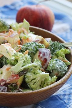 Easy and delicious apple broccoli salad - keep it in your fridge and eat it all week.