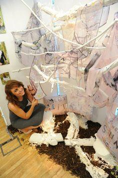 Designer Corren Alyssa with her handmade silk scarfs, digitally printed at her graduate exhibition. Designed by Corren Alyssa - www.facebook.com/correnalyssatextiles Handmade Design, Scarfs, Silk, Printed, Facebook, Digital, Fashion, Scarves, Moda
