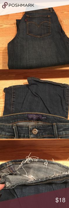 Dark wash Levi jeans 👖 These awesome jeans are a classic, cuffs were hemmed due to some wear, but you can't hardly tell.  Dark wash, 9inch inseam Levi's Jeans Straight Leg