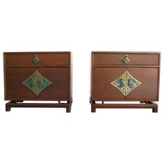 Pair Monteverdi Young Cabinets with Brass and Stone Hardware