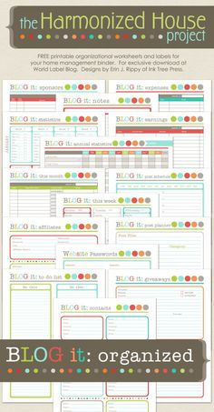 Blog-it: Bloggers Organizational Printables