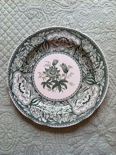 "Spode green transferware plate. ""Floral""  $18.00"