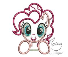 Cute pinky Pony Applique Design for Embroidery by bluemoonapplique, $6.00
