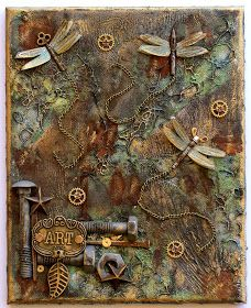 Scrapping On The Edge: Steampunk Style Mixed Media Canvas - Flying Unicorn