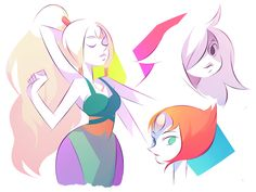 Opal, Pearl, and Amethyst
