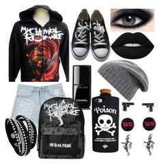 """""""my chemical romance"""" by butterball7 ❤ liked on Polyvore featuring Converse, Chanel, Lime Crime, BCBGMAXAZRIA and Valfré"""