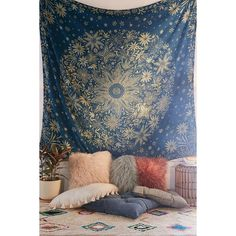 Ioana Daisy Medallion Tapestry featuring polyvore, home, home decor, wall art, inspirational home decor, urban outfitters, motivational wall art, tapestry wall art and medallion wall art