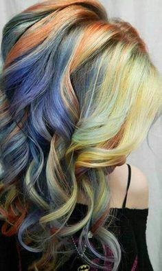 Yellow blue orange dyed hair color inspiration @alix_maya