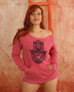 Hamsa Hand Fatima Hand Pink Sweatshirt Sexy by GoddessGearDesigns