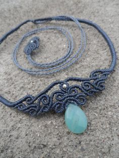 Amazonite Macrame necklace choker & tiara stone size by LaQuetzal
