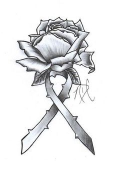 Rose with ribbon tattoo- make ribbon Green and Blue for Organ donation or Green for liver disease