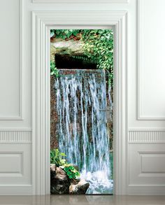 Door STICKER Waterfall Landscape Cataract From Wallnit On Etsy