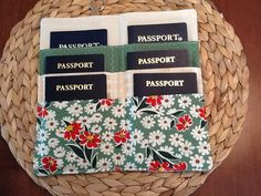 Family Passport Holder - Six 6 Passports - Travel Wallet - Passport Cover - Family Vacation - International Travel