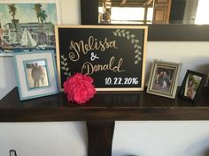 Custom name chalkboard created to use for all of their wedding events - bridal shower, bachelorette and wedding day - what a great DIY idea! DIY envelope calligraphy -  your first impression of your wedding are the save the dates and the invitations and why not make them look unique and handcrafted! #diy #calligraphy #weddingdecor #wedding #weddinginspiration #bride #chalk #chalkboard #envelopes #stationery #paper #emboss