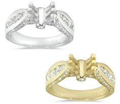 Modern Channel, Pave and Bezel Set Semi-Mount with Round Cut Diamonds - 1.10 ctw.