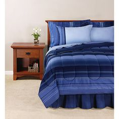 This would be perfect for the queen bed in the other bedroom.  Mainstays Ombre Bed in a Bag Bedding Set, Blue.
