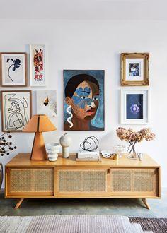 Interior Designer, Kerrie-Ann Jones' Home Has a Lot of Personality with Minimal Color - cane credenza styling // living room art ideas Effektive Bilder, die wir über home decor anbieten - Interior Design Trends, Home Design, Interior Inspiration, Interior Decorating, Interior Stylist, Color Interior, Colorful Interior Design, Sunday Inspiration, Inspiration Wall