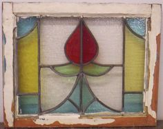 "OLD ENGLISH LEADED STAINED GLASS WINDOW Floral Design 22.25"" x 17.75"""