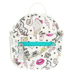 Neon Patches Mini Backpack Crossbody Bag | White faux leather crossbody mini backpack has a neon patches print and holographic details. The unstructured backpack features a rolled top handle, zip-top closure, adjustable shoulder strap and a zip-front pocket.