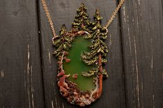 Forest Pendant one of a kind Statement Necklace by WarmRainArt