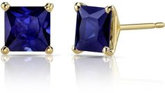 Ice 2 3/4 CT TW Lab-Created Sapphire 14K Gold Princess Cut Solitaire Stud Earrings