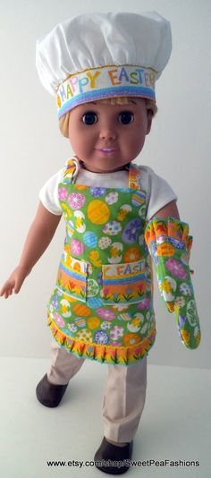 American Girl Easter Apron Set by SweetPeaFashions on Etsy, $12.00